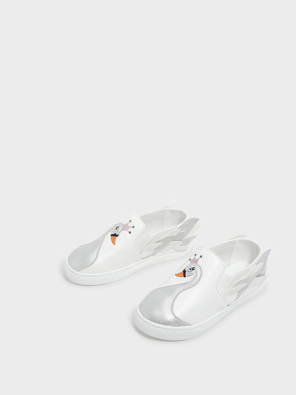 Kids Swan Detail Flats, White, hi-res