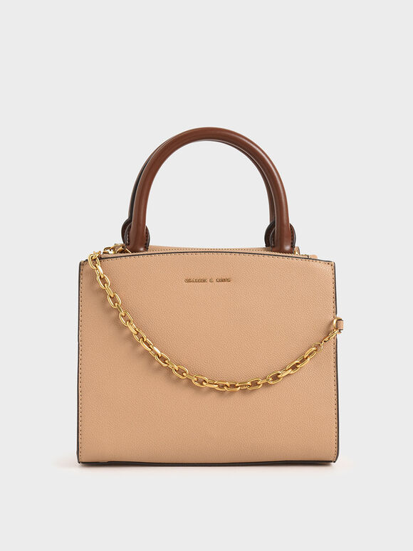 Chain-Link Top Handle Bag, Beige, hi-res