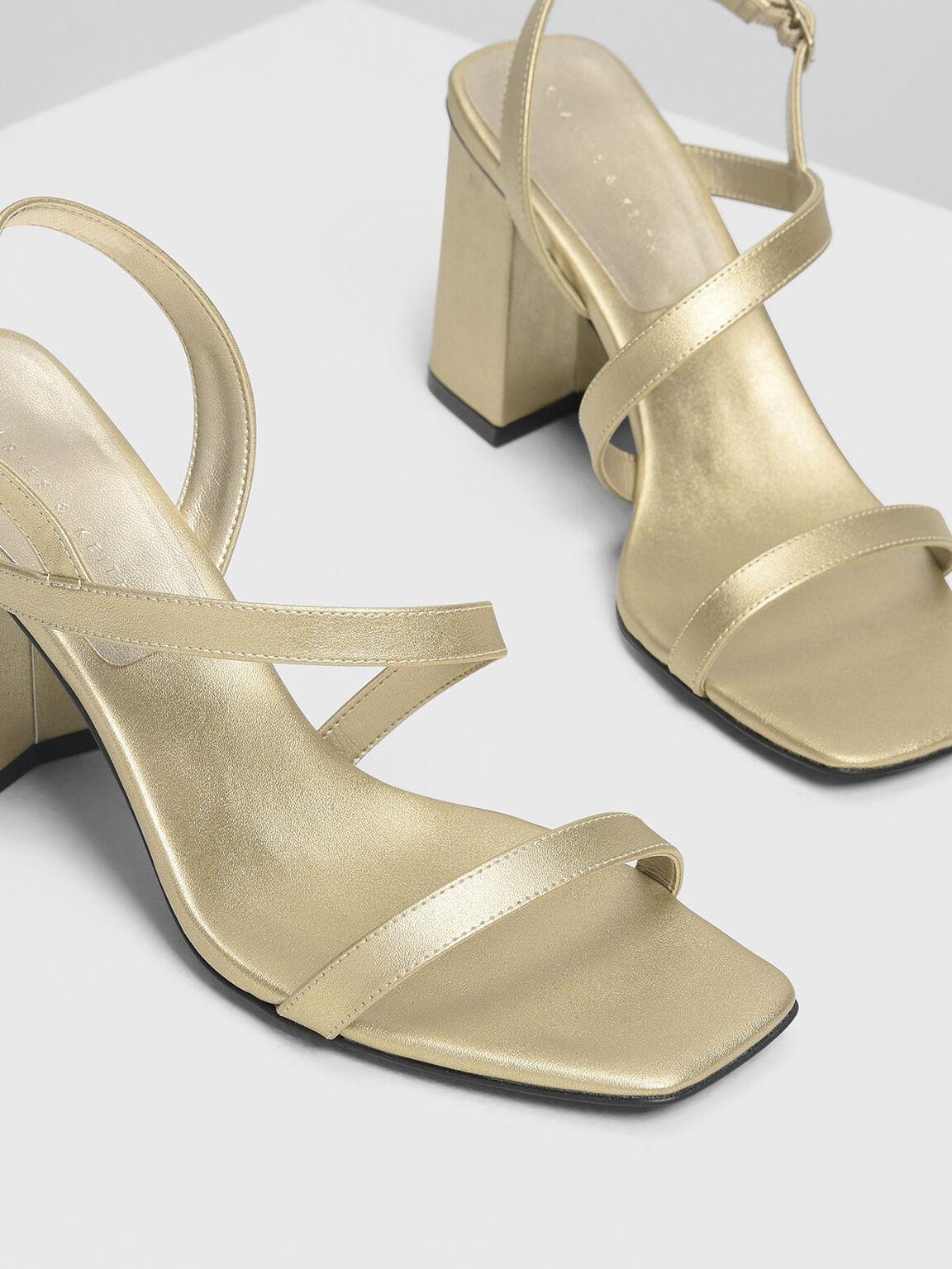 Asymmetrical Strap Heeled Sandals, Gold, hi-res