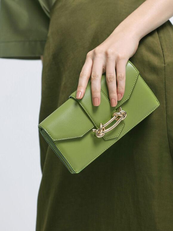 扭結釦長夾, 綠色, hi-res