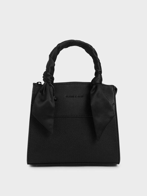Scarf-Wrapped Top Handle Bag, Ultra-Matte Black, hi-res