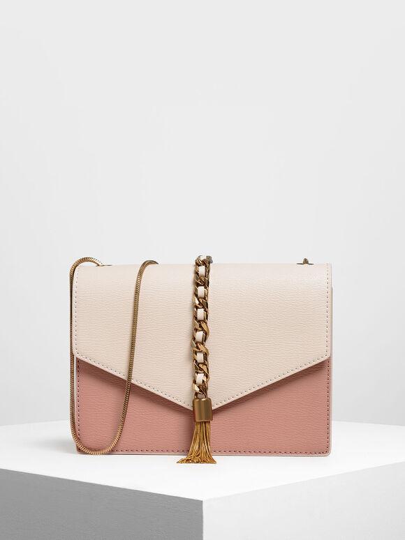 Tassel Shoulder Bag, Light Pink, hi-res