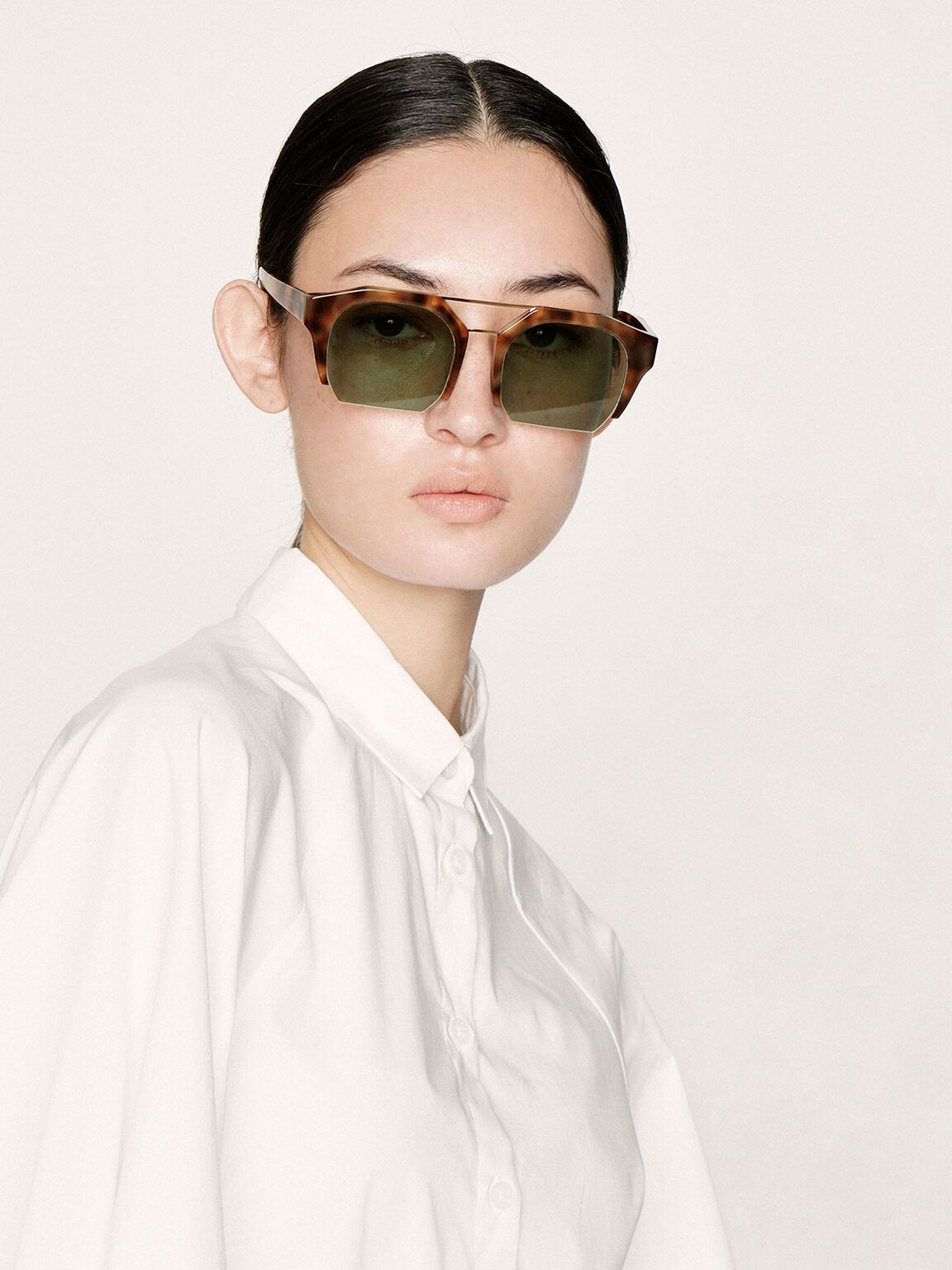 Tortoiseshell Cut-Off Frame Geometric Sunglasses, T. Shell, hi-res
