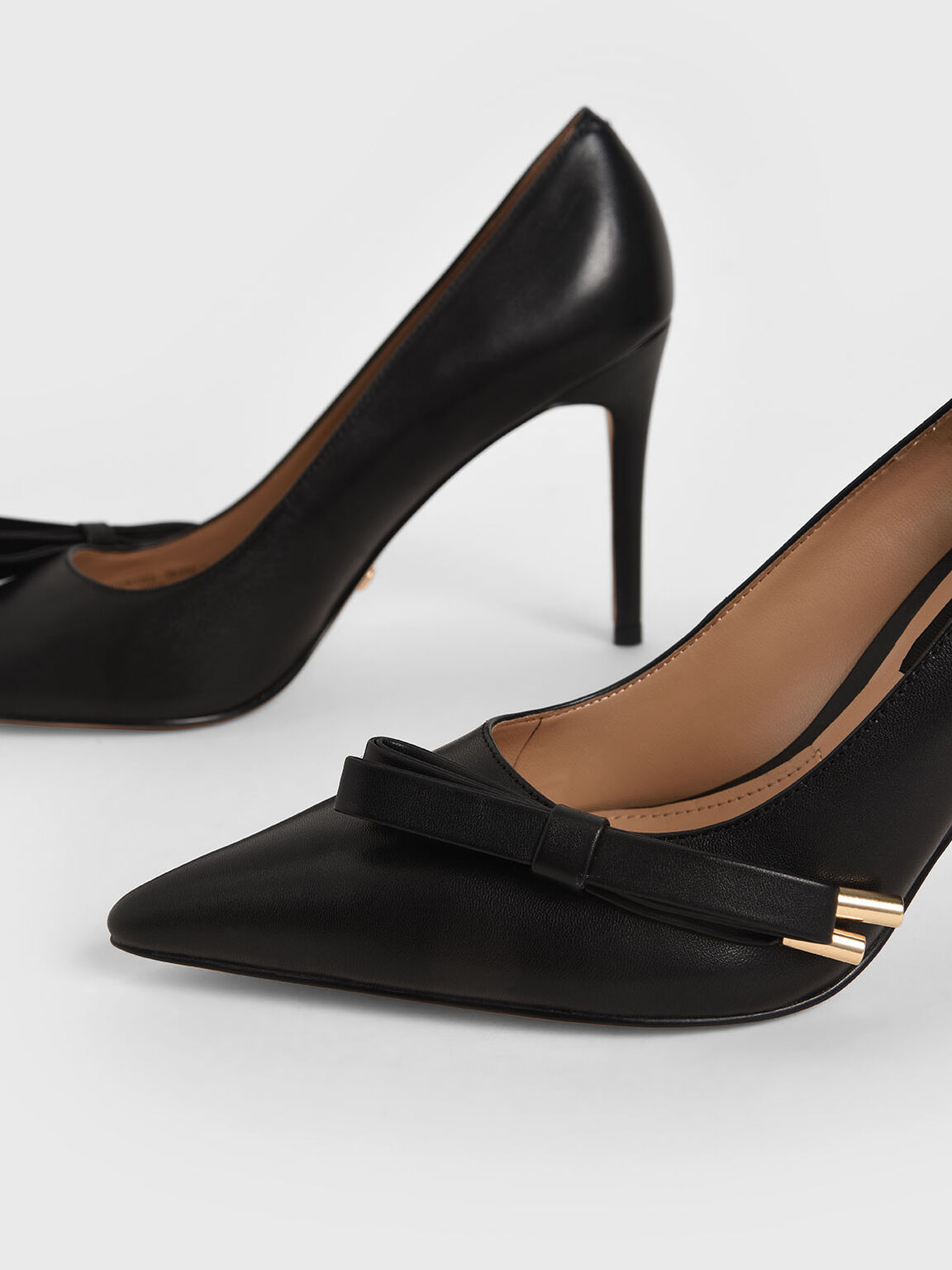 Leather Bow Stiletto Pumps, Black, hi-res