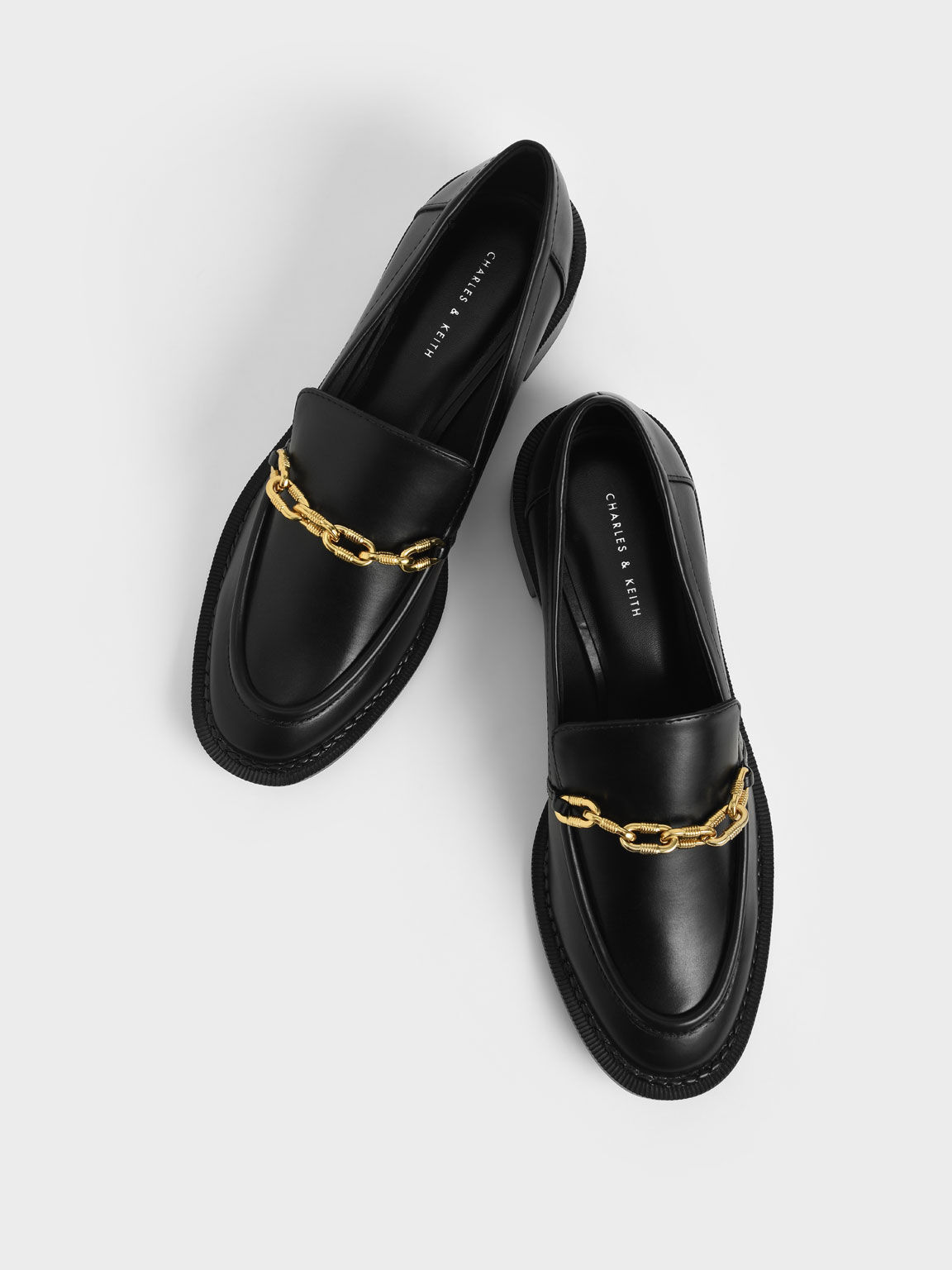 Chunky Chain Link Loafers, Black, hi-res