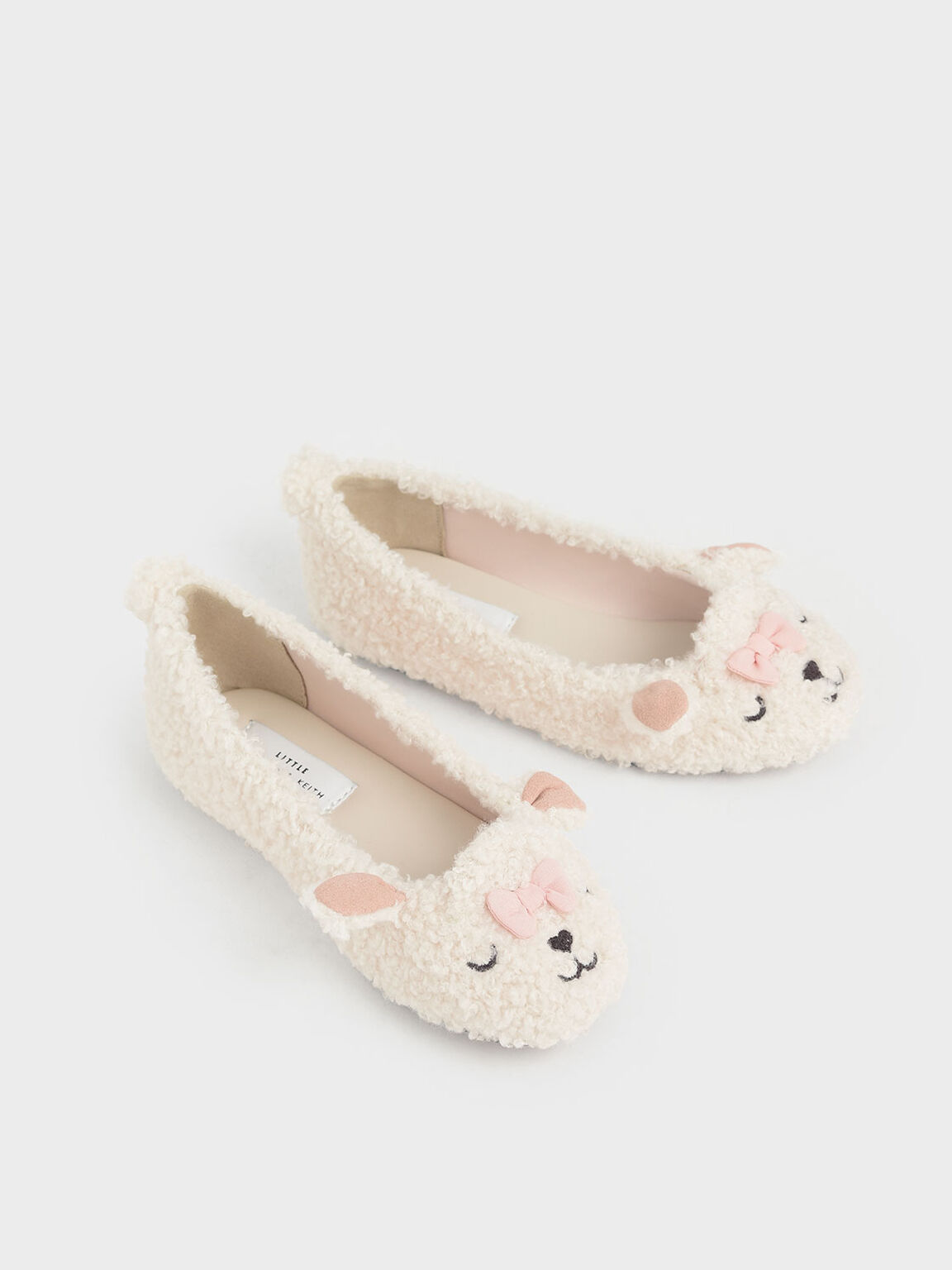 Girls' Nellie The Lamb Furry Ballerina Flats, Beige, hi-res