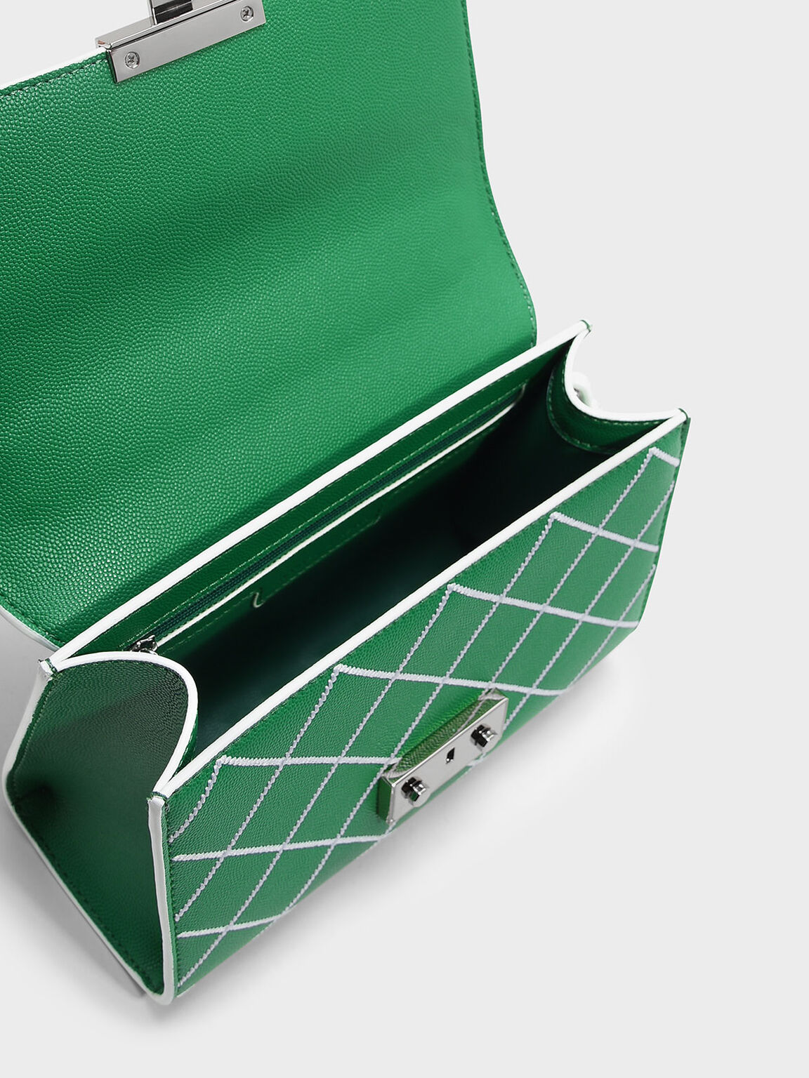 Front Flap Push-Lock Bag, Green, hi-res