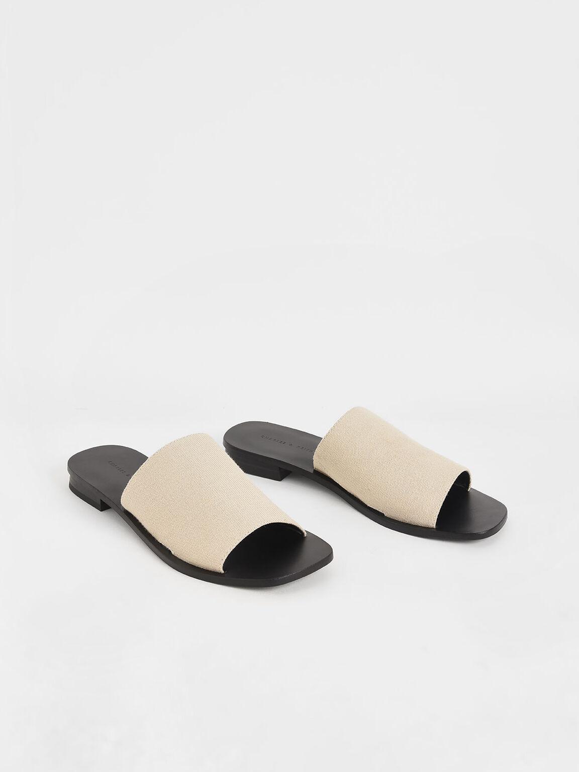 Canvas Slide Sandals, Beige, hi-res