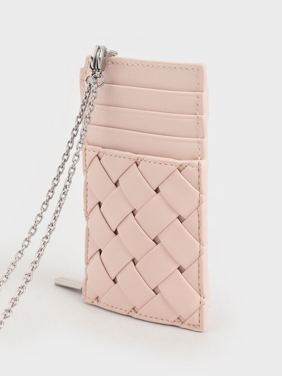 Woven Multi-Slot Card Holder, Light Pink, hi-res