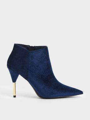 Velvet Metallic Stiletto Heel Ankle Boots, Dark Blue