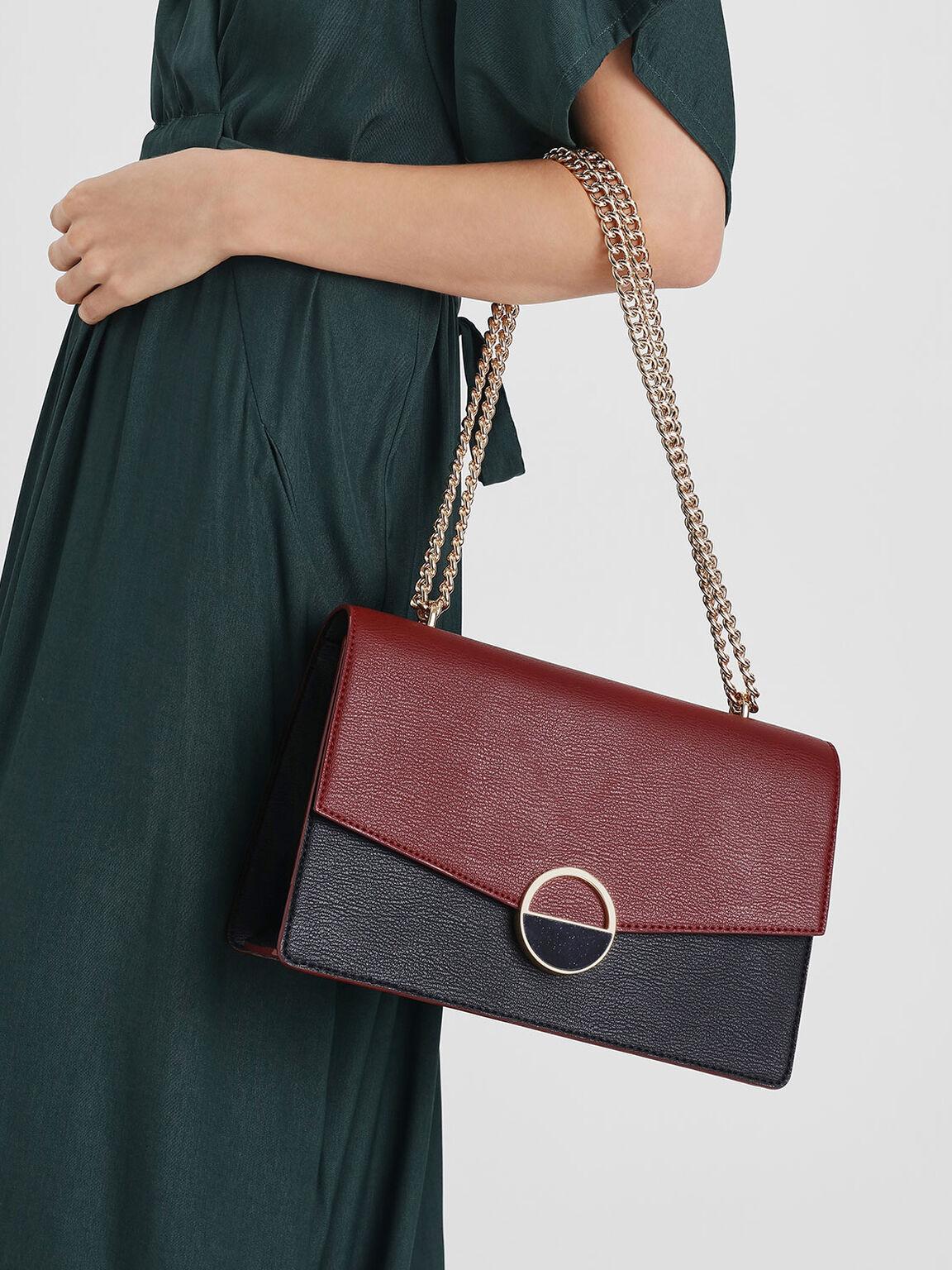 Round Plaque Detail Shoulder Bag, Red, hi-res