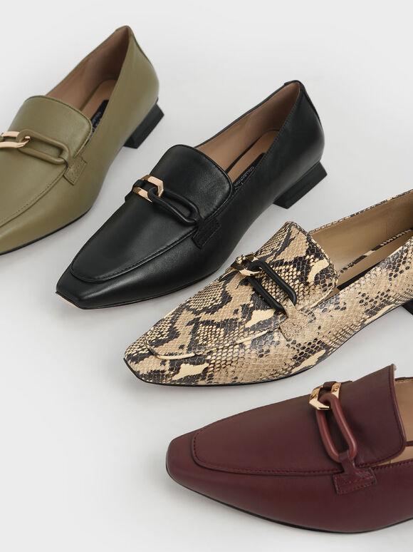Embellished Leather Loafers, Burgundy, hi-res