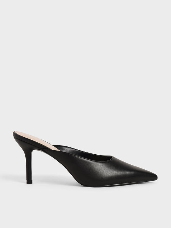 Stiletto Heel Mules, Black, hi-res
