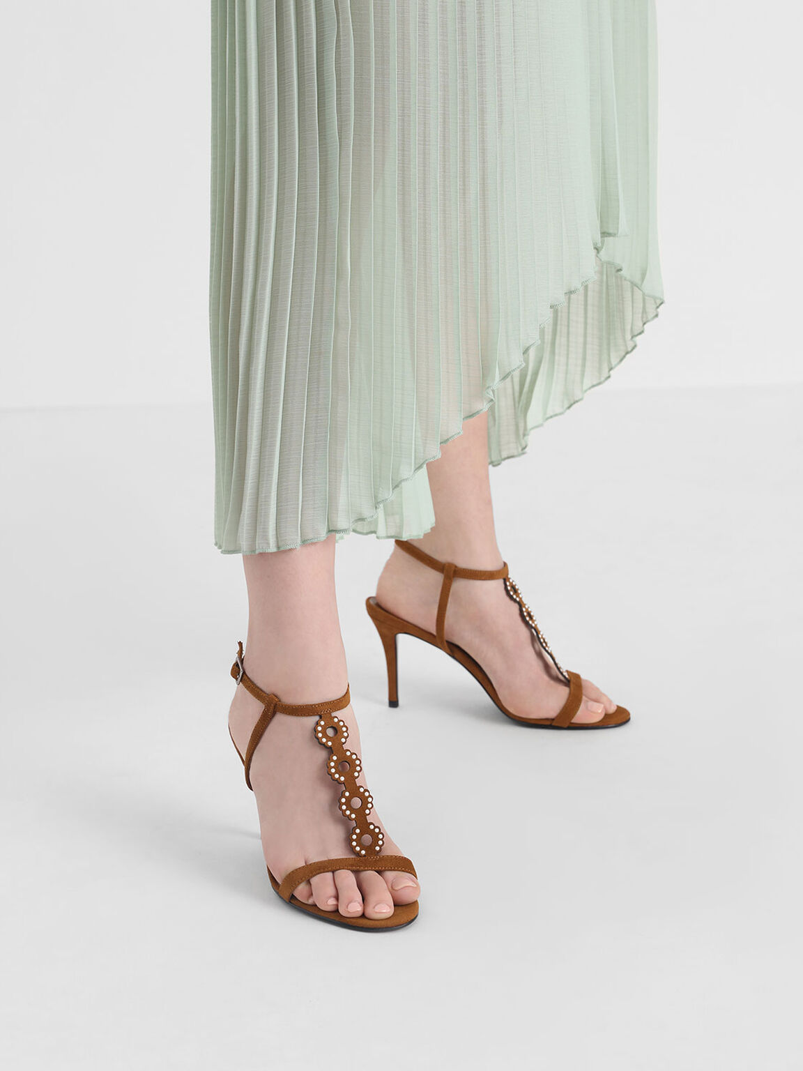 Cut-Out Embellished Stiletto Heels, Camel, hi-res
