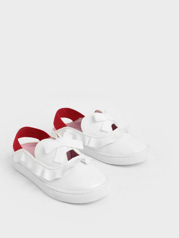 Girls' Frill-Trim Slip-On Sneakers, White, hi-res