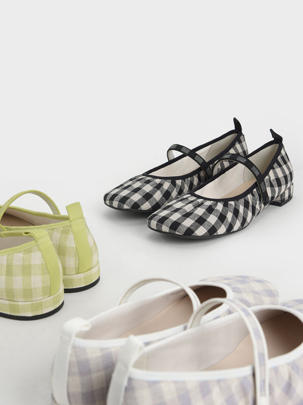 Woven Gingham Mary Janes, Black, hi-res