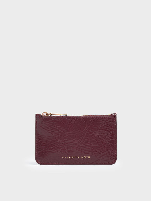 Wrinkled Effect Top Zip Cardholder, Burgundy, hi-res