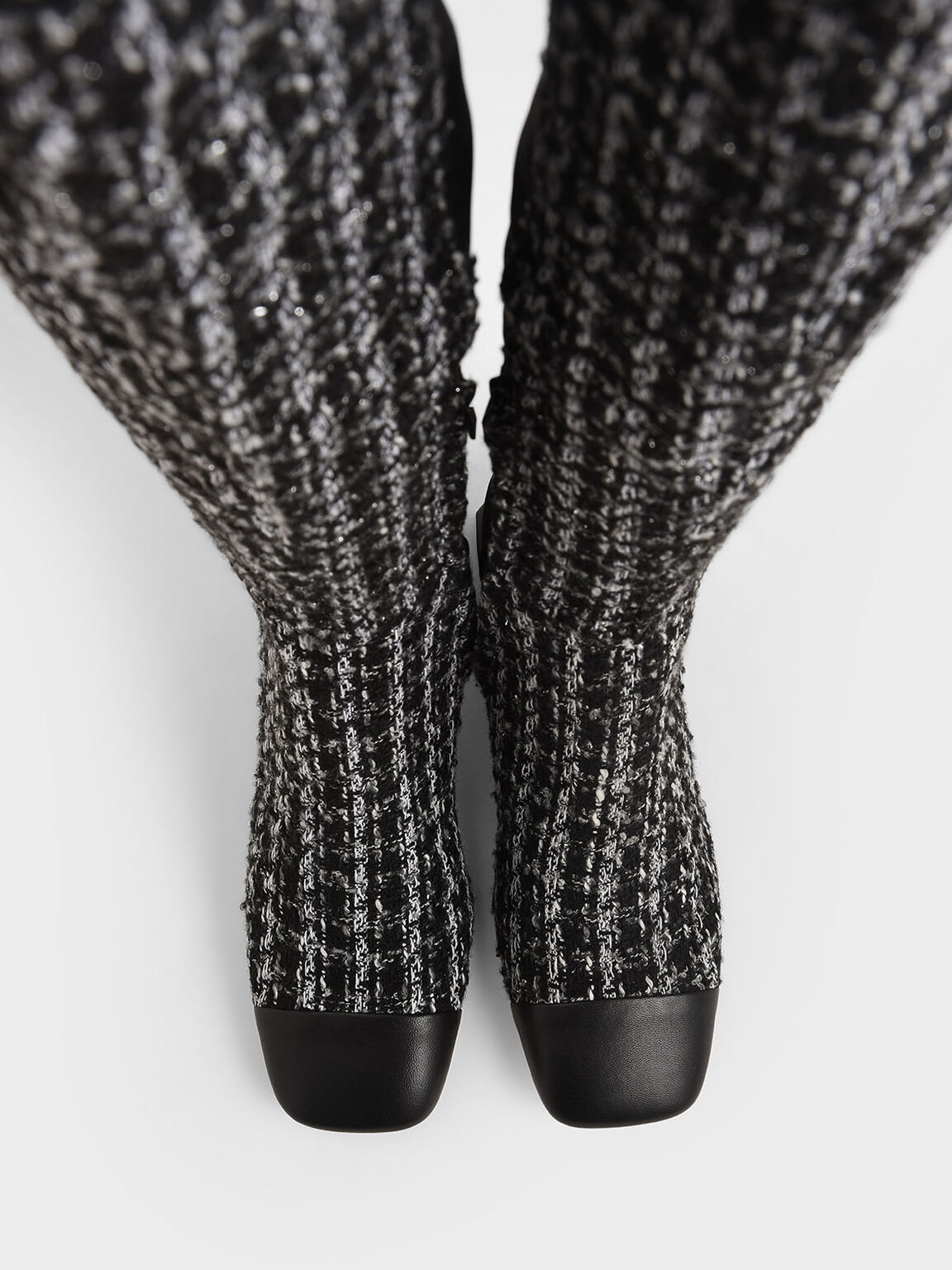 Tweed & Leather Thigh High Boots, Multi, hi-res