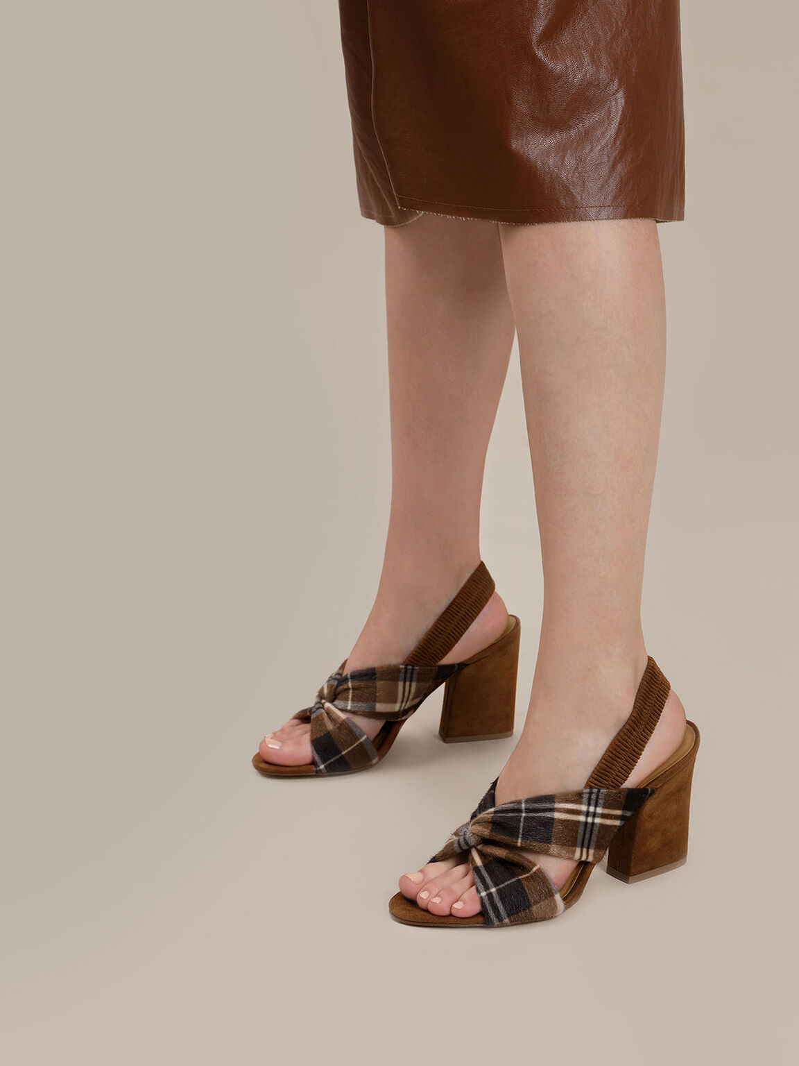 Twist Detail Slingback Heels, Brown, hi-res