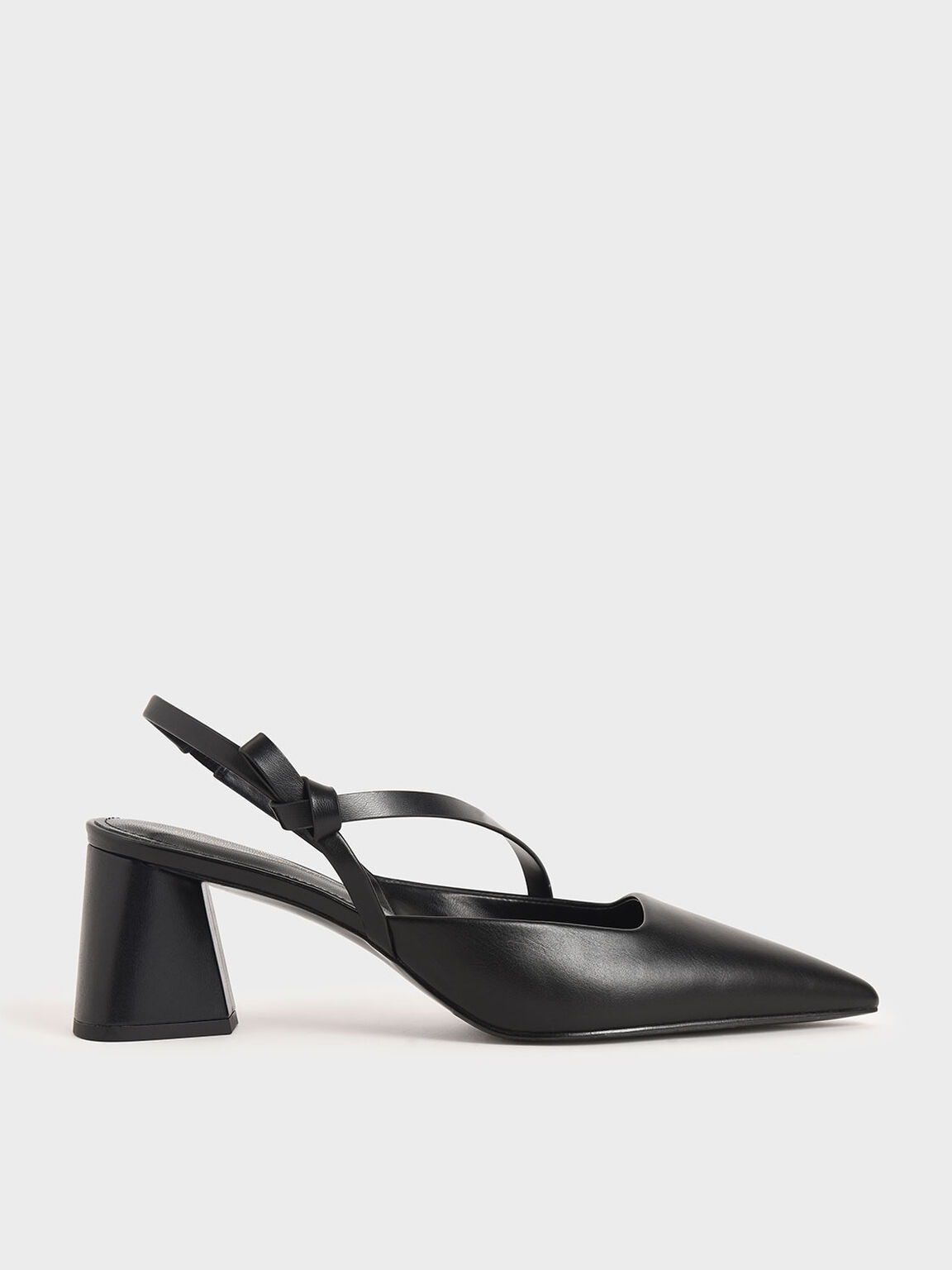 Asymmetric Strap Slingback Pumps, Black, hi-res