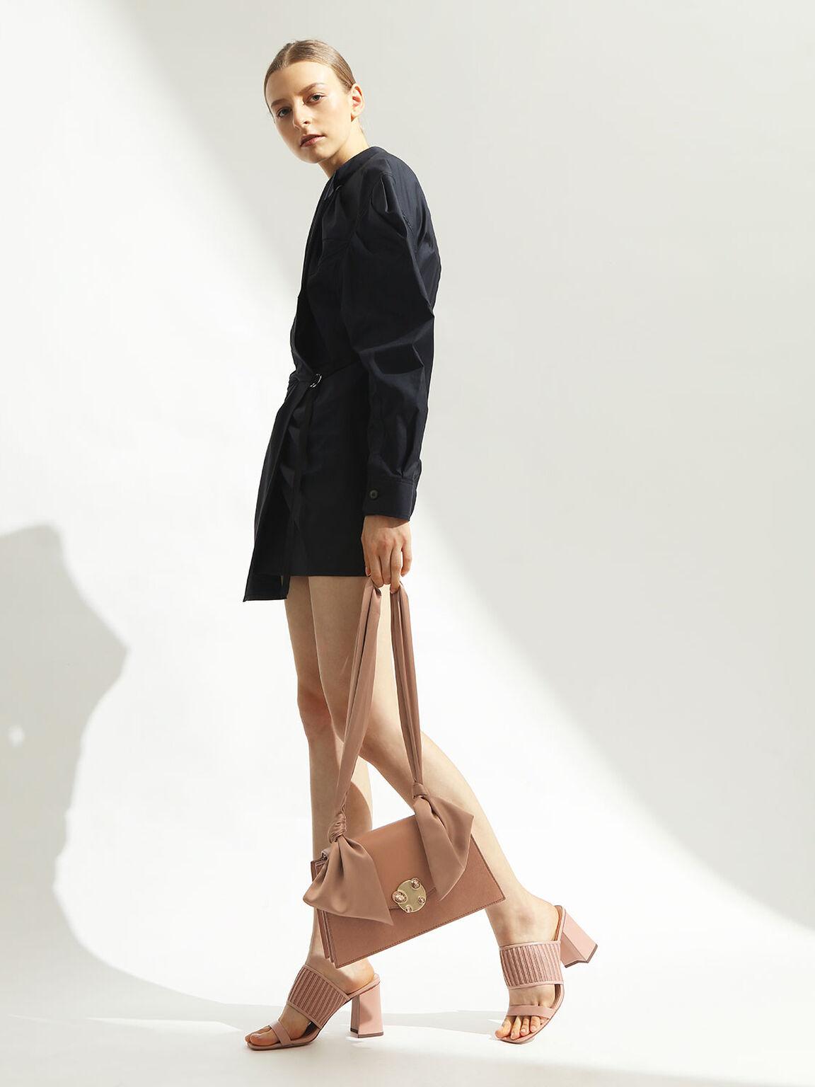 Satin Top Handle Shoulder Bag, Blush, hi-res