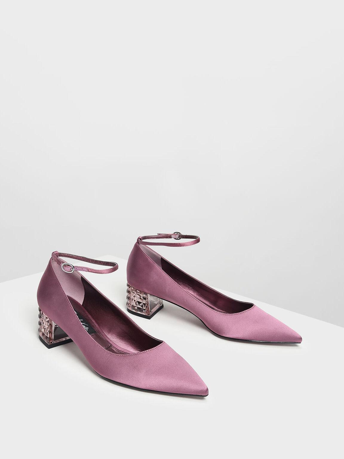Faceted Lucite Heel Satin Pumps, Pink, hi-res