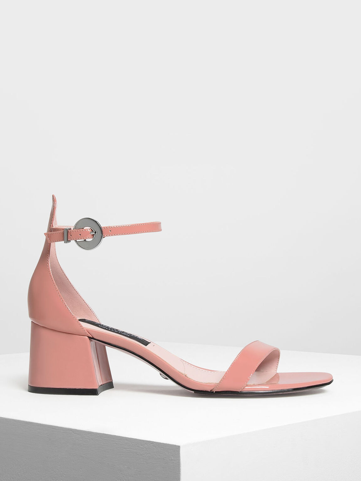 Ankle Strap Leather Heeled Sandals, Nude, hi-res