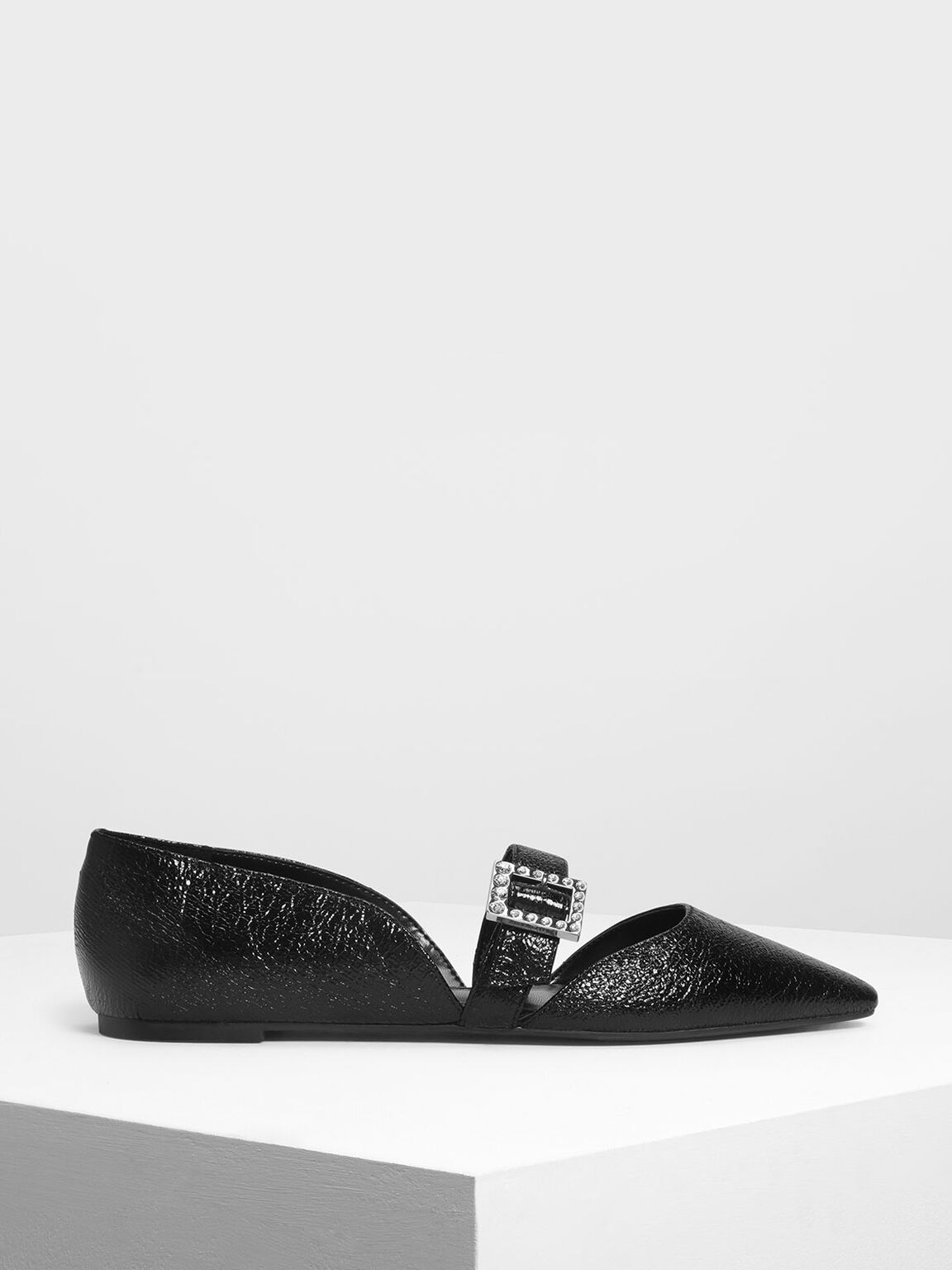 Crystal Embellished Buckle Mary Jane Flats, Black, hi-res