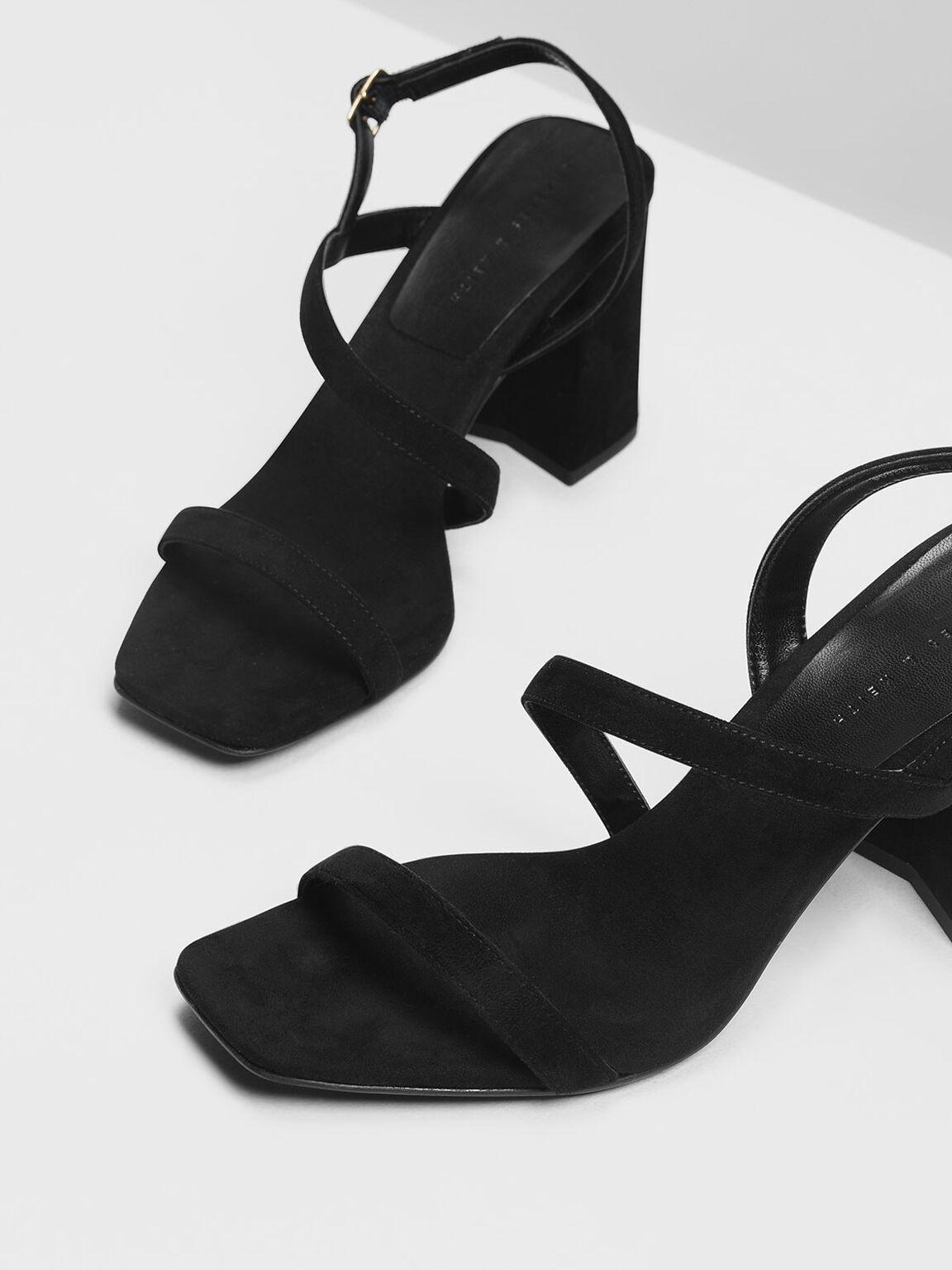 Asymmetrical Strap Heeled Sandals, Black, hi-res