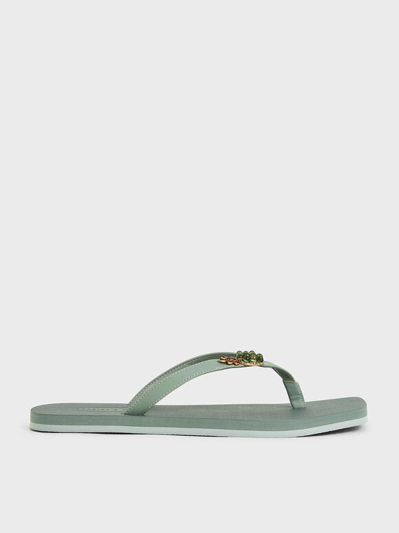 Embellished Thong Sandals, Green, hi-res