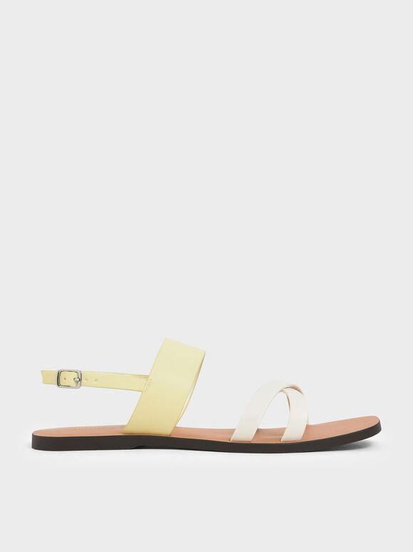 交叉帶平底涼鞋, 黃色, hi-res