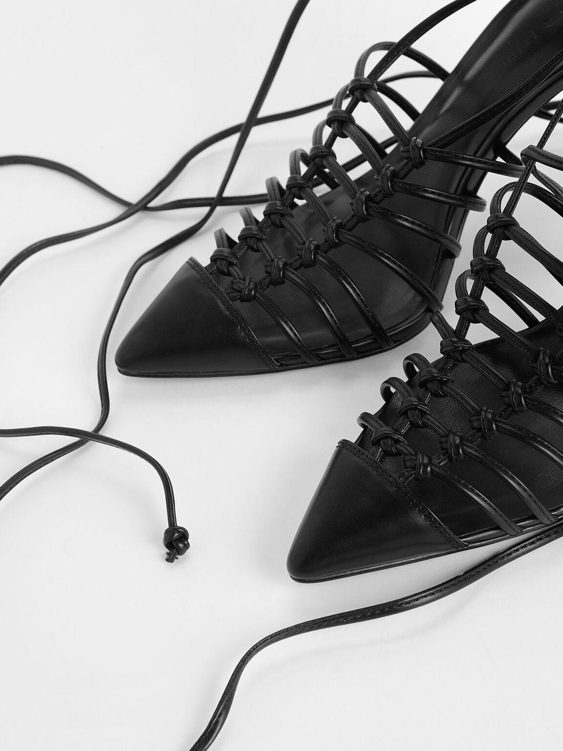 Lace Up Heels, Black, hi-res