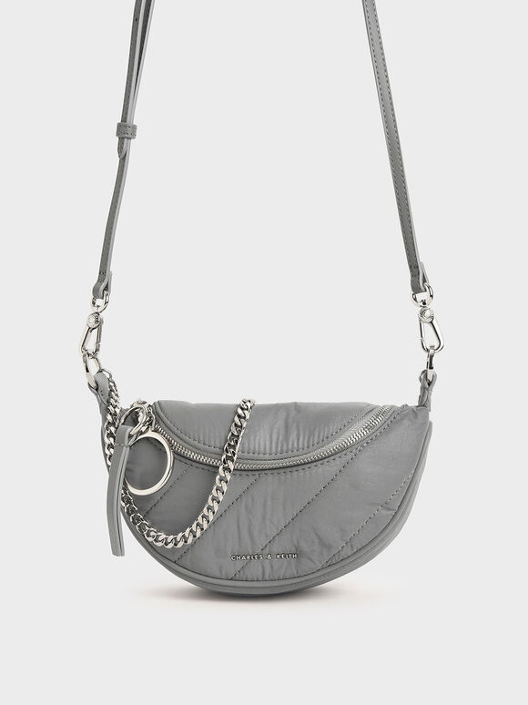 Nylon Wrinkled-Effect Saddle Bag, Grey, hi-res