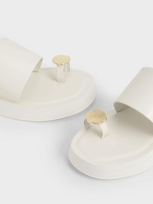 Metal Accent Toe-Loop Flatforms, Cream, hi-res