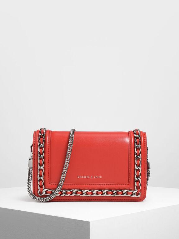 Chain Detail Clutch, Red