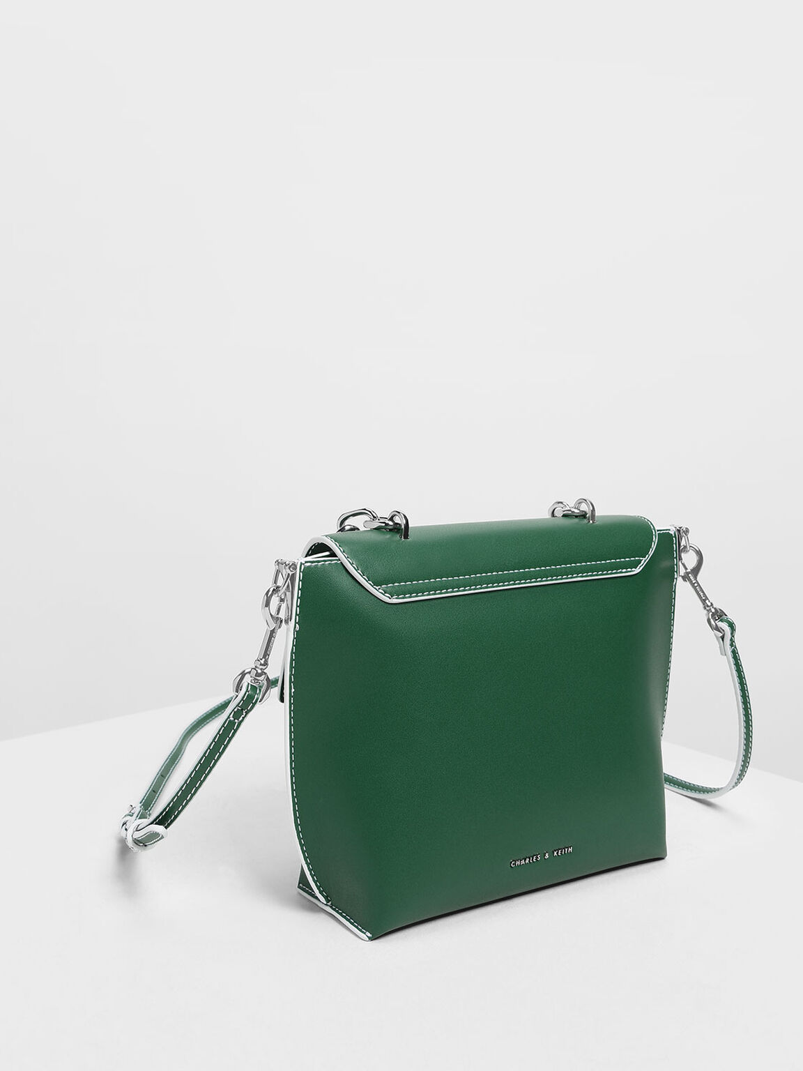 Single Chain Handle Bag, Green, hi-res