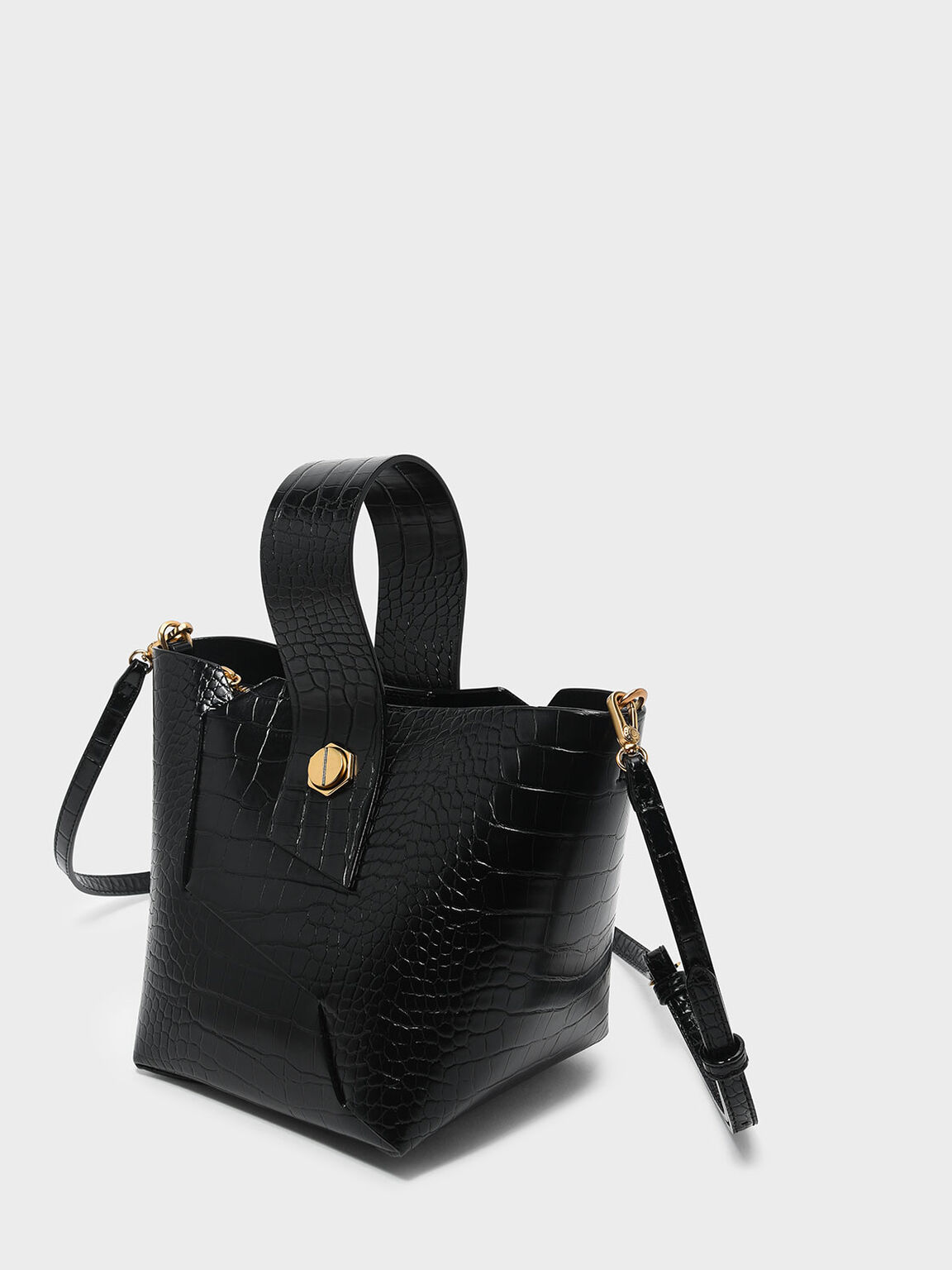 Croc-Effect Wristlet Handle Bucket Bag, Black, hi-res