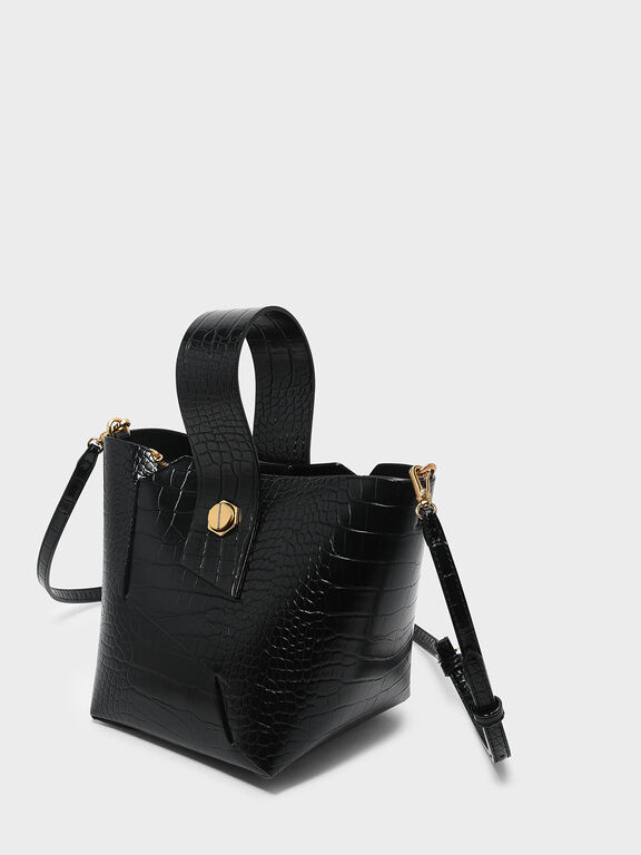 Wristlet Handle Bucket Bag, Black
