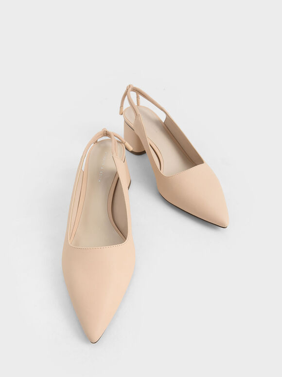 Knotted Slingback Pumps, Nude, hi-res