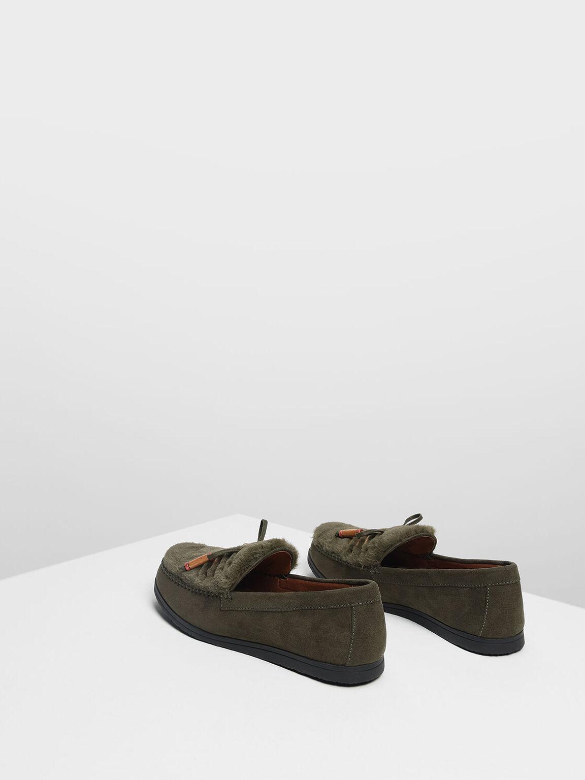 毛毛莫卡辛鞋, 橄欖色, hi-res