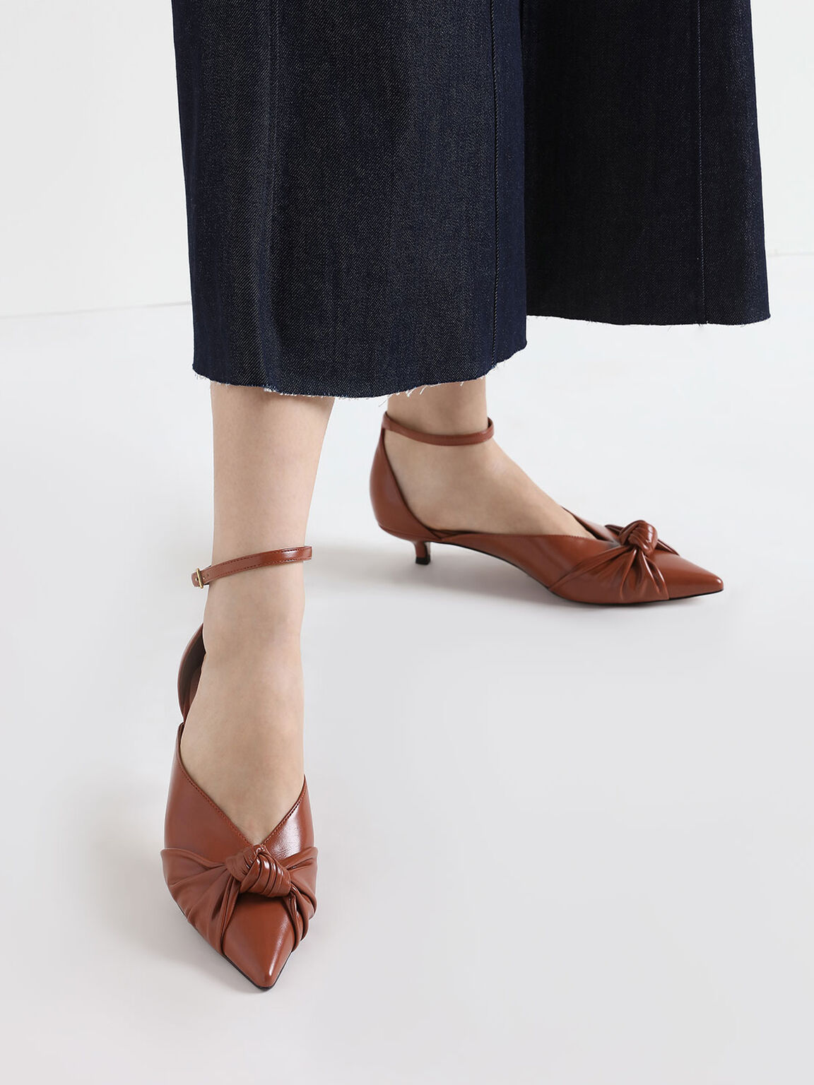 Knotted Kitten Heel Pumps, Brick, hi-res