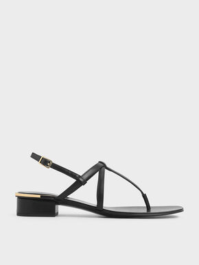 Strappy T-Bar Sandals, Black