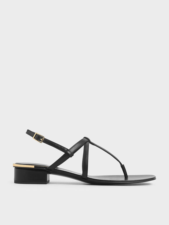 Strappy T-Bar Sandals, Black, hi-res