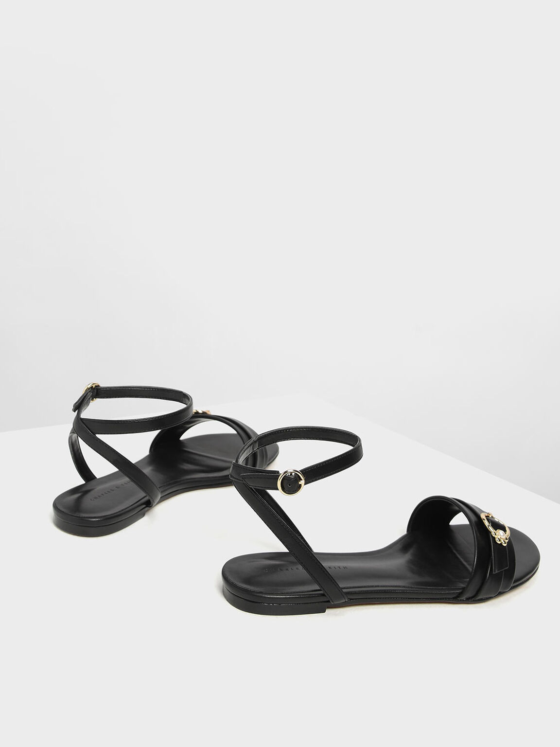 Gold Accent Ankle Strap Flats, Black, hi-res