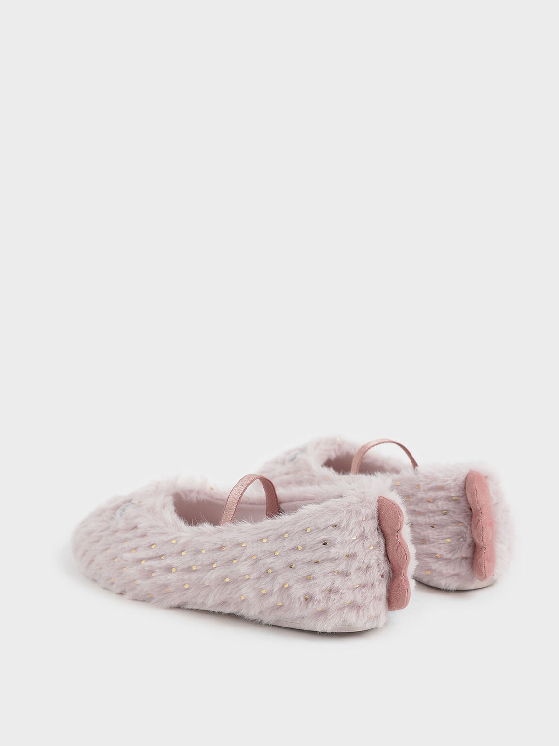 Girls' Furry Eye Detail Mary Jane Flats, Light Pink, hi-res