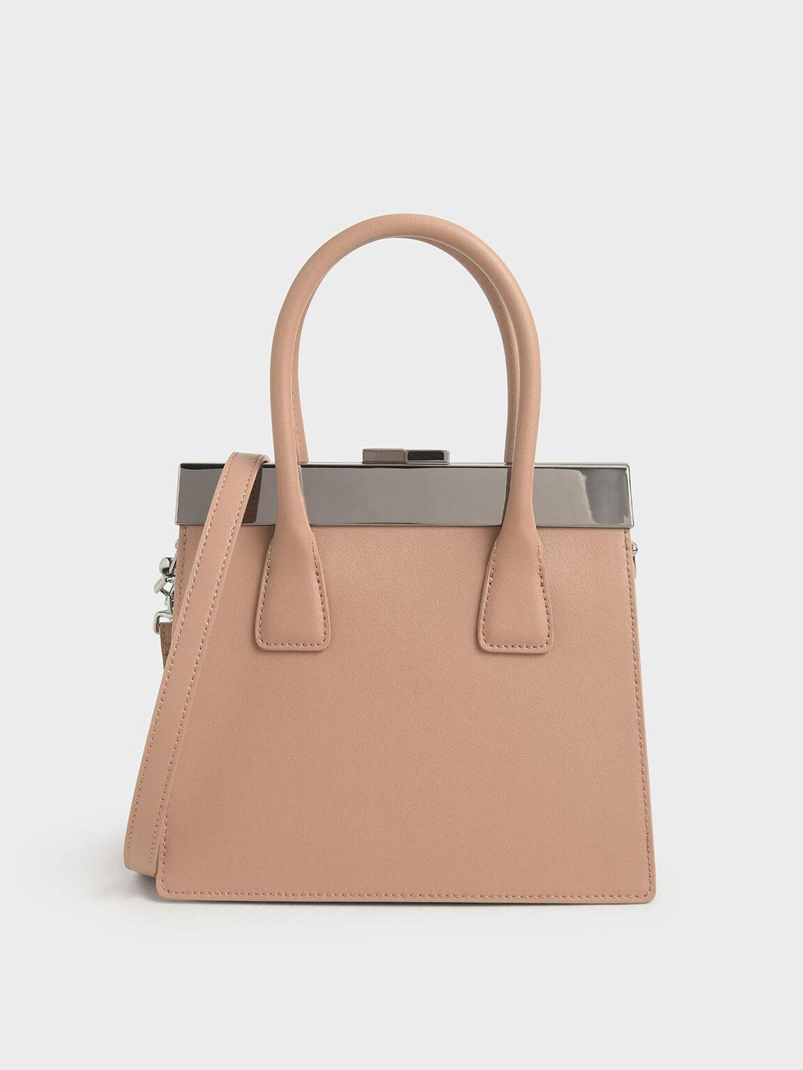 Leather Top Handle Bag, Brown, hi-res