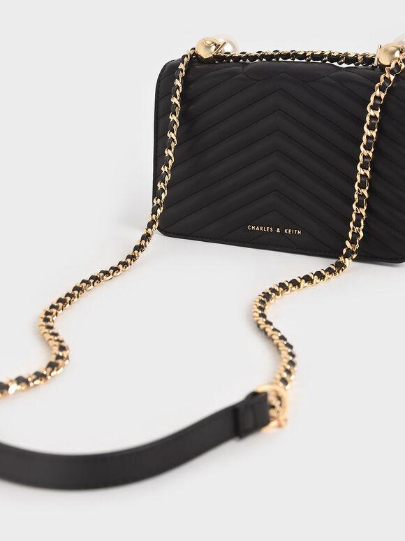 Beaded Handle Crossbody Bag, Black, hi-res