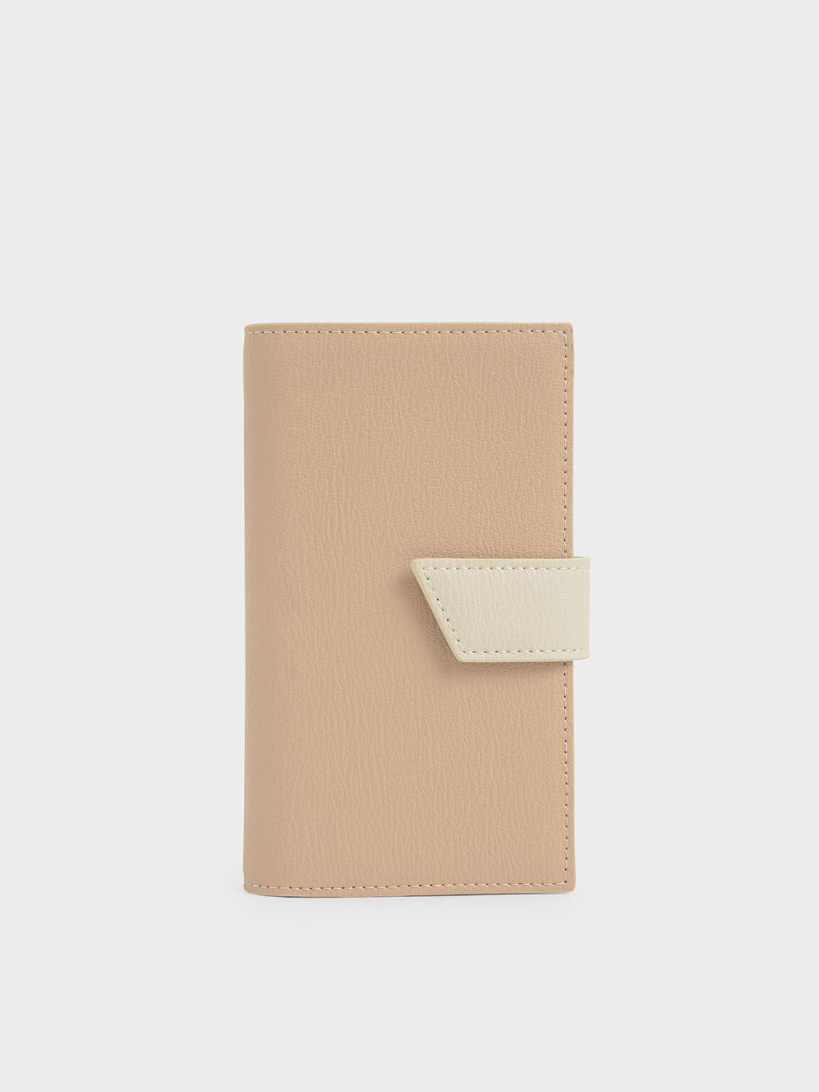 Snap Button Wallet, Beige, hi-res