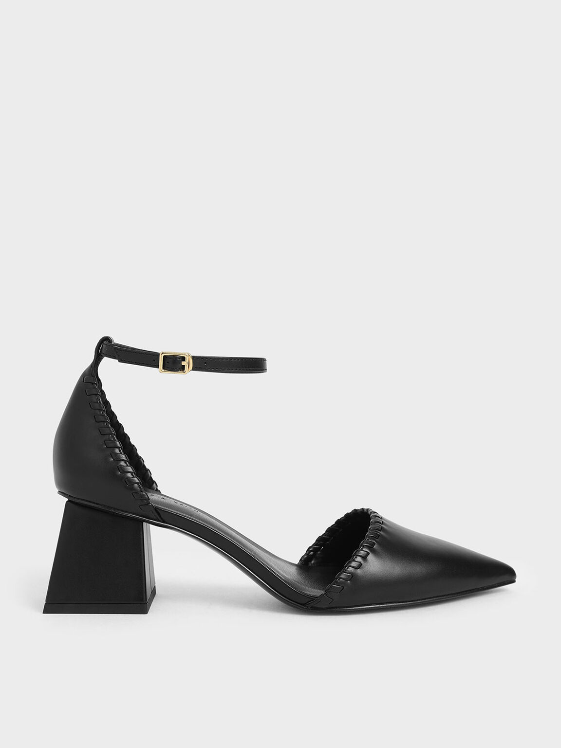 Whipstitch Trim Pumps, Black, hi-res