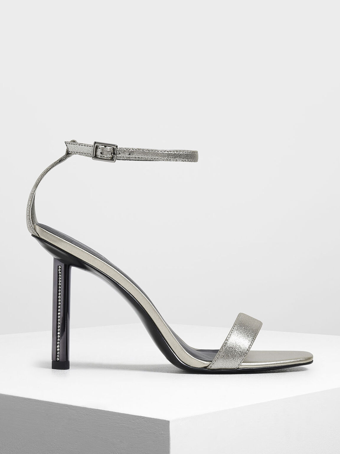 鑲鑽高跟涼鞋, 銀色, hi-res